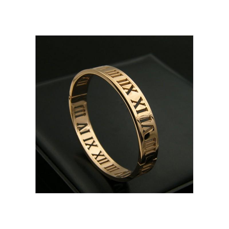 Bracelet Jonc Quot Chiffre Romain Quot Large 10mm Acier Inoxydable