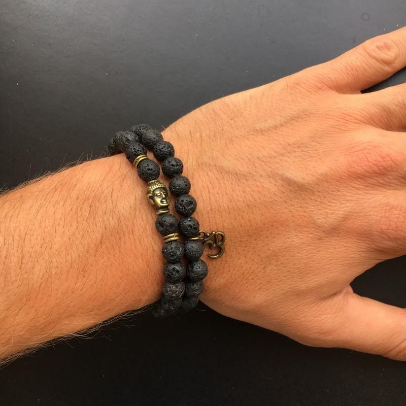 bracelet double perle onyx et oeil de tigre fermeture. Black Bedroom Furniture Sets. Home Design Ideas