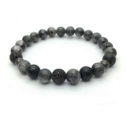 Bracelet Zircon paved bead and Labradorite Onyx Hematite Lava rock (Men's Woman)