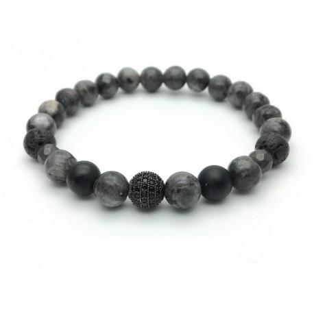 Bracelet Zircon paved bead and Labradorite Onyx Hematite Lava rock (Men's Woman)