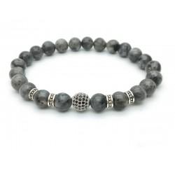 Bracelet perle pavée de Zircon et Labradorite noire (Homme Femme)