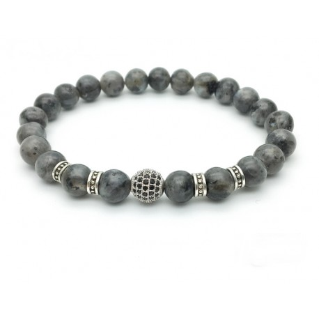 Bracelet pearl paved with Zirconia and black labradorite(Man Shamballa silver)