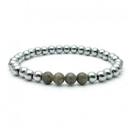 Bracelet 6mm - Perle Hématite argenté et Labradorite (Homme / Femme)