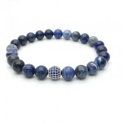 Bracelet perle pavée de Zircon et Solidate (Homme Femme)