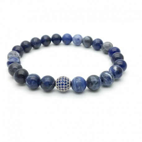 Bracelet pearl paved with Zirconia and sodalite (Man Shamballa silver)