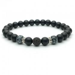 Bracelet perle pavée de Zircon Onx et obsidienne flocon de neige (Homme Femme)