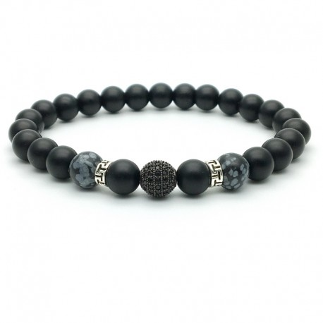 Bracelet Zircon paved bead and Onyx, Obsidian snowflake(Men's Woman)
