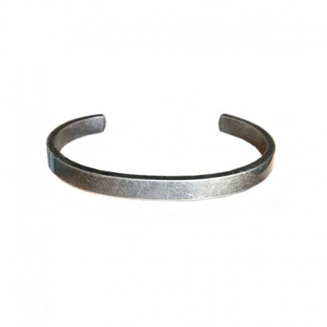 Bracelet Acier effet vielli - Jonc plat pour homme