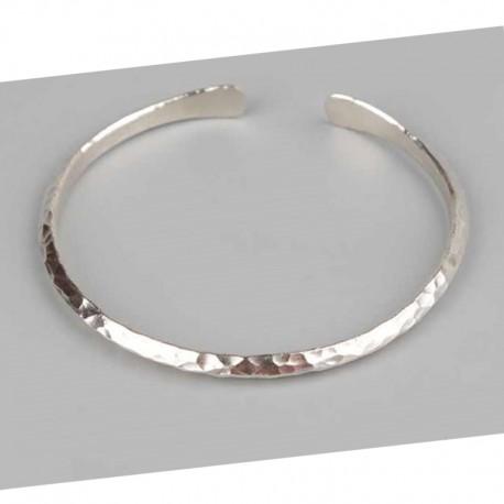 925 Sterling silver triangle shaped hammered bracelet - Men's jewelery