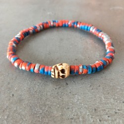 Skull death-head Bracelet-Blue Orange pearl silver (male/female)