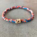 Bracelet tête de mort - Perle orange bleue argent (Homme / Femme)