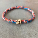 Skull death-head Bracelet-Blue Orange pearl silver (man/woman)