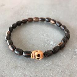 Bracelet tête de mort - Perle bois exotique de palmier (Homme / Femme)