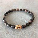 Head of death Skull Bracelet-exotic palm wood bead (man/woman)