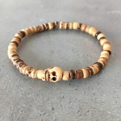 Skull Bracelet - exotic coconut wood bead (man/woman)