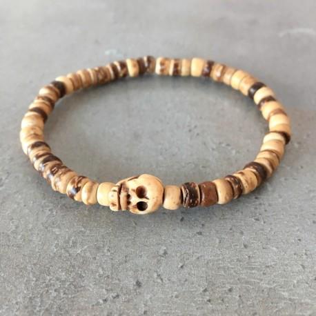 Bracelet tête de mort - Perle bois exotique noix de coco (Homme / Femme)