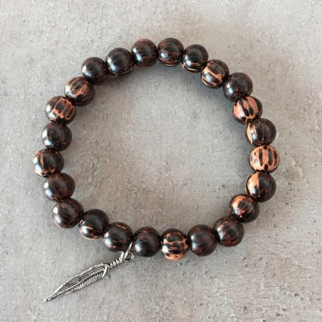 Exotic wooden Bracelet - Old palm 8mm + silver feather Pendant