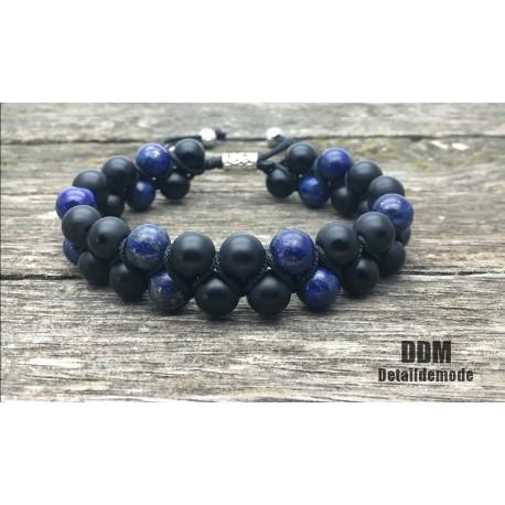 Bracelet DOUBLE Perle Onyx et Lapis Lazuli (mixte homme femme shamballa mala)