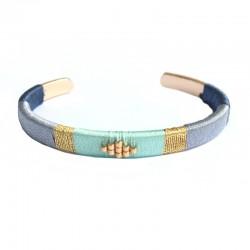 Bracelet jonc tissé bleu - Laiton doré a l'or fin