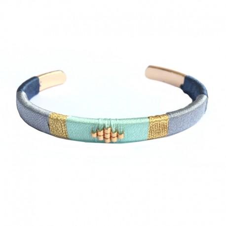 Blue woven bangle Bracelet - Golden Brass with fine gold