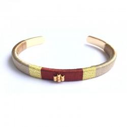 Bracelet jonc tissé marron - Laiton doré a l'or fin