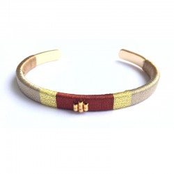Brown woven bangle Bracelet - Golden Brass with fine gold
