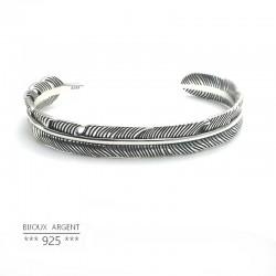 Bracelet jonc plume Navajo en Argent 925 - Bijou homme