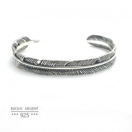Bracelet jonc pépite brut en Argent 925 forme triangle - Bijou homme