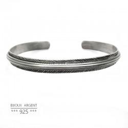 Bracelet jonc large style vintage en Argent 925 forme triangle - Bijou homme