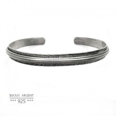 63574fd0b9b9f Bracelet jonc large style vintage en Argent 925 forme triangle - Bijou homme