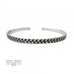 925 Sterling Silver Bangle Bracelet - Engraved Laurel - Men Jewelry