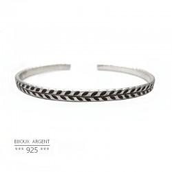 Bracelet jonc plat en Argent 925 - Gravé laurier - Bijou homme