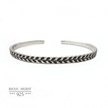 925 Sterling Silver Bangle Bracelet - Engraved Laurel - Men Jewelry