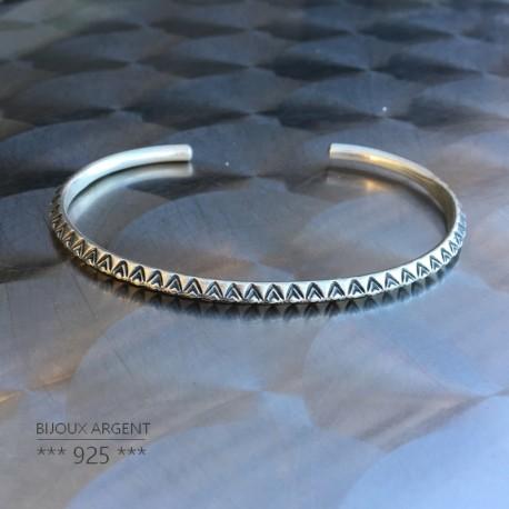 Jonc fin en Argent 925 - Bracelet motif ethnique Indien - Bijou homme