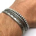 Men's Bracelets Association 2 Steel band + 1 bracelet silver hematite