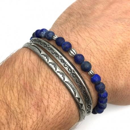 PK04 men association bracelets 2 cuffs 1 bracelet lapis lazuli matte with 925 silver beads