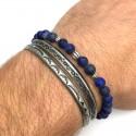Men's Bracelets Association 2 stell cuff + 1 bracelet lapis lazuli matte
