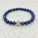 Bracelet en pierres naturelles de Lapis Lazuli avec perle en argent 925 sculptée.