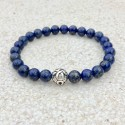 Lapis Lazuli natural gemstone bracelet with carved 925 silver bead