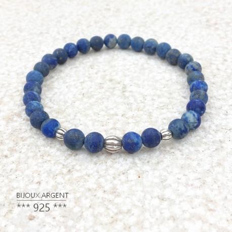 Bracelet 6mm en pierres naturelles de Lapis Lazuli dépolies avec perles en argent 925 KPC51