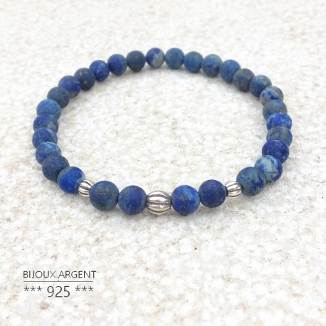 Bracelet en pierres naturelles de lapis lazuli et sa perle sculpté en argent 925, disponible pour homme ou femme