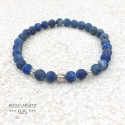Bracelet 6mm natural gemstone of Lapis Lazuli frosted with beads in silver 925