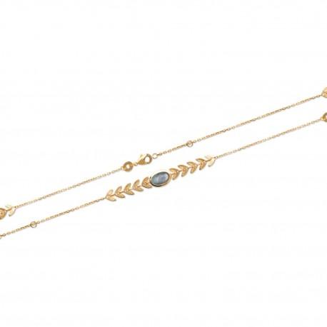Gold Plated Laurel Leaf bracelet with Labradorite Stone LAURIER