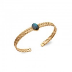 Gold Plated Laurel Leaf bracelet with Labradorite Stone LAURIER