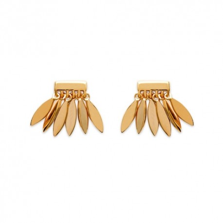 Gold plated stud earrings - L'INDIENNE