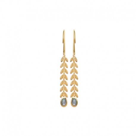 Gold Plated Laurel Leaf pendant earrings with Labradorite Stone LAURIER