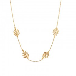 Necklace chain with 4 small leaves gold plated - JUNGLE
