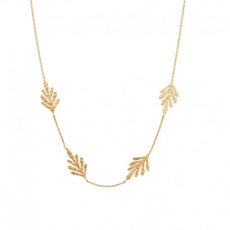 Collier chaîne avec 4 petites feuilles plaqué or - JUNGLE