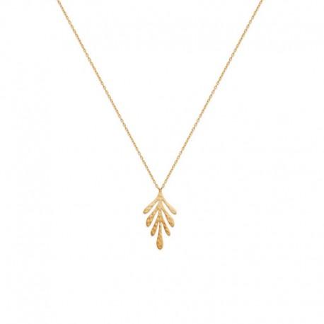Collier chaîne fine avec pendentif feuille plaqué or - JUNGLE