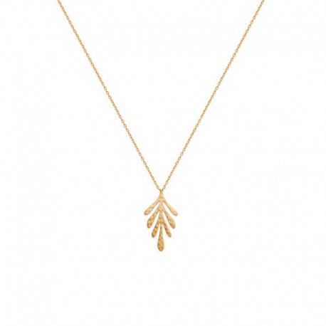 Fine chain necklace with gold plated leaf pendant - JUNGLE